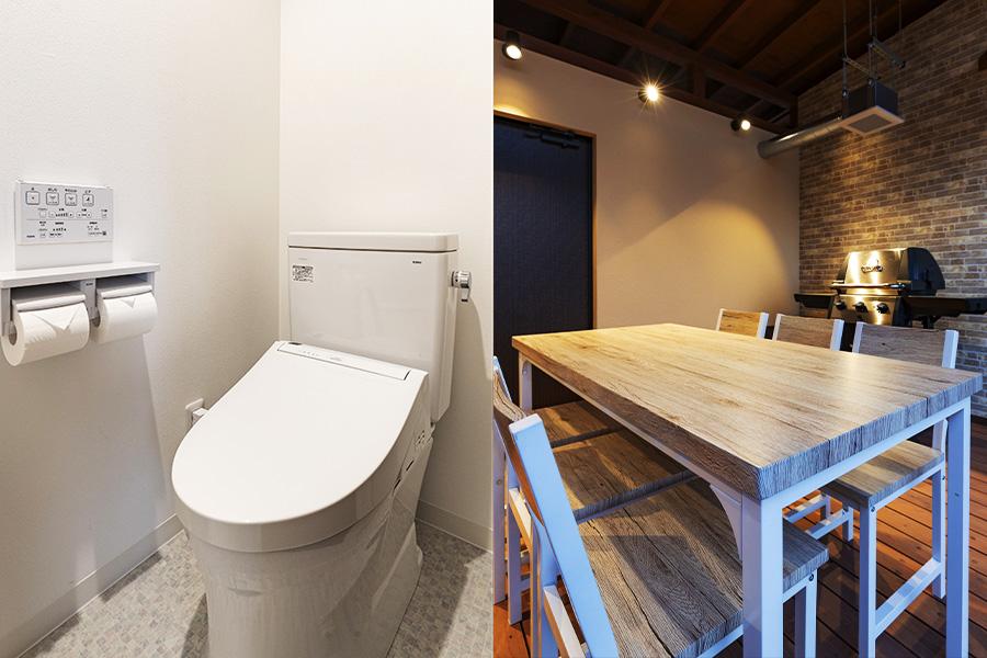 個別トイレ・温泉・食事スペース